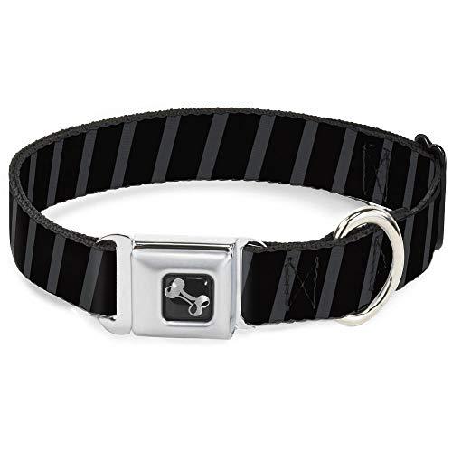 (Buckle Down Seatbelt Buckle Dog Collar - Diagonal Stripes Black/Gray - 1.5