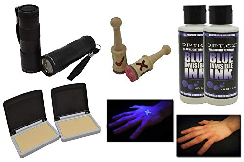 Opticz UV Blacklight Reactive Invisible Blue Ink Hand Stamping Document Marking Security Kit (Economy Kit)