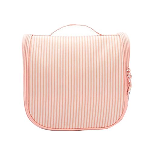 FunYoung Waschtasche Kulturbeutel Kostmetiktasche für Damen Unterwegs Streifen Muster (Rosa)