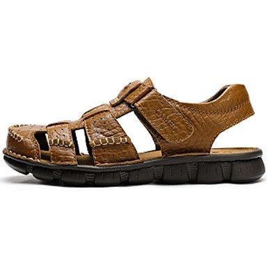 SHOES-XJIH&Uomini sandali Comfort Casual in pelle tacco piatto altri Brown Kaki a piedi,Kaki,US7.5 / EU39 / UK6.5 / CN40