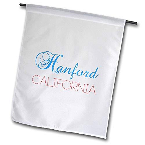 3dRose Alexis Design - American Cities California - Hanford, California, red, Blue Text. Patriotic Home Town Design - 12 x 18 inch Garden Flag (fl_302746_1)