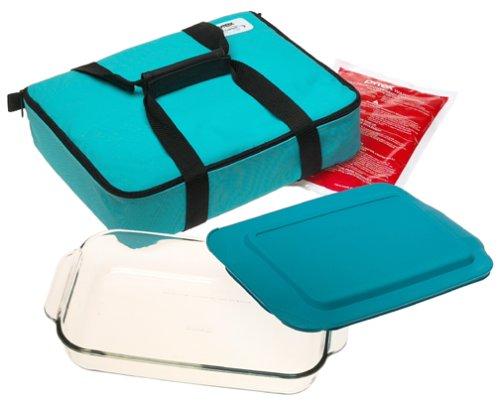 Pyrex 4-Piece Oblong Portables Set, Turquoise