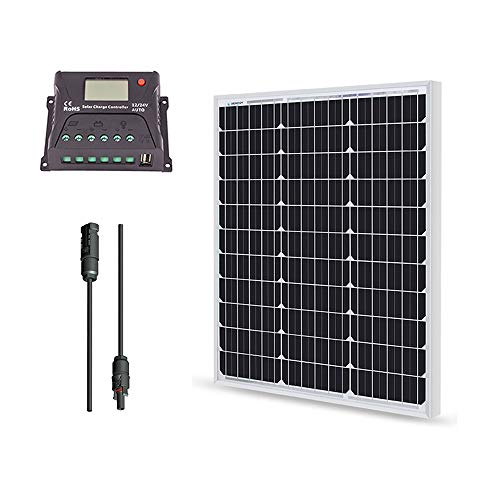 Renogy 50 Watt 12 Volt Monocrystalline Solar Bundle Kit with 10A PWM...