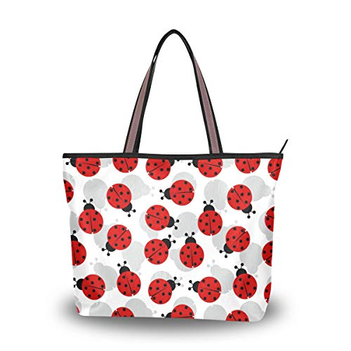 15f75319408a TropicalLife Cute Ladybug Women Large Tote Shoulder Bag Handbag with Zipper  for Shopping Travel Beach