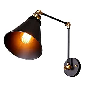 Linkax Vintage Wall Sconce Industrial Wall Light Adjustable Swing Arm Wall Lamp Retro Loft Sconce Decorated Fixtures with E27(Bulbs not included)