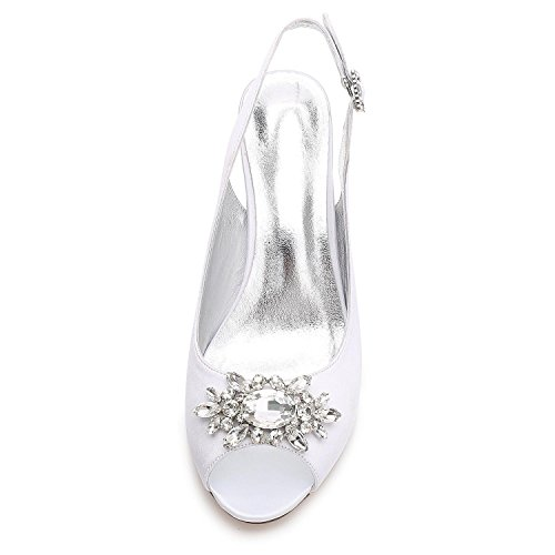 L@YC Women Wedding Shoes E17061-58 Rhinestone With Ladies Dress Buckle Satin Court Shoes Black JueRM4e