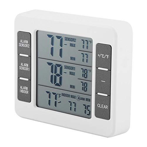 FTVOGUE Refrigerator Thermometer Wireless Digital Audible Alarm Fridge Freezer Thermometer with 2PCS Sensor Min/Max Display