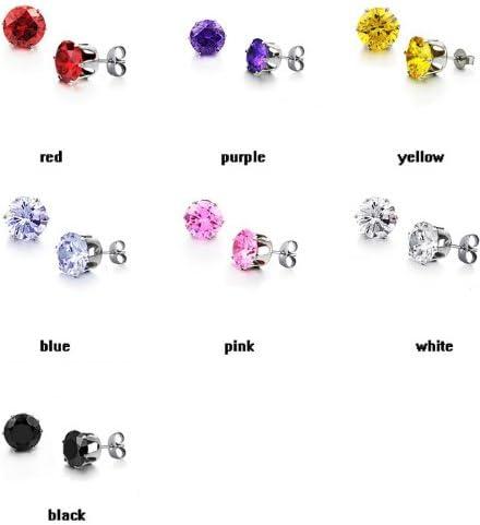 Fekkai Elegant Purple Shiny Round Crystal Diamond Titanium Stainless Steel Charming Stud Earrings