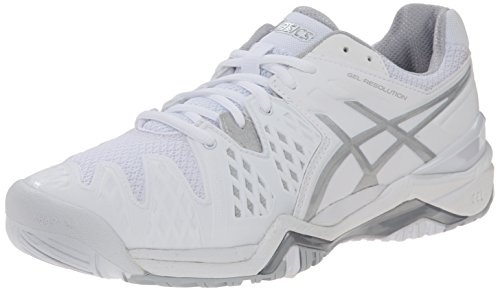 Asics Women's GEL-Resolution 6 Tennis Shoe - White/Silver...