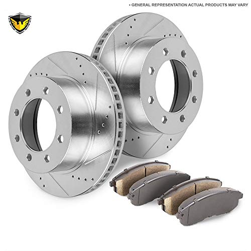 Front Brake Pads And Rotors Kit For Ford F-250 & F-350 Super Duty - Duralo 153-6754 - Rotors F250 Brake