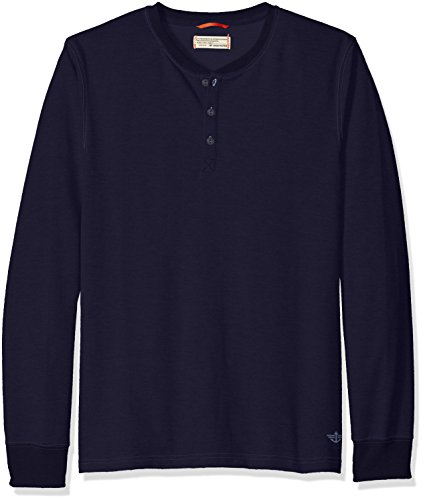 Dockers Terry - Dockers Men's French Terry Henley Long Sleeve Shirt, Navy, Small