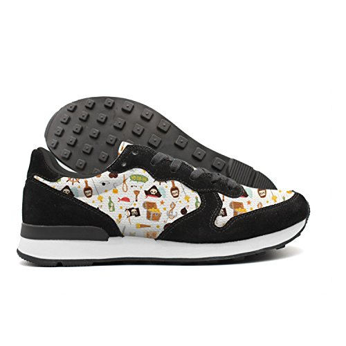 Hoohle Graphic Pirate Skulls Womens Comfortable Black Internationalist Leather Mid Suede Mesh Retro Casual Running Sports Trainers Runner Walking Fishing Sneakers (Bandana Pirate Suede)