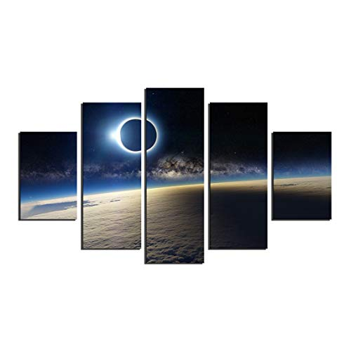 5 Panel Large Abstract Solar Eclipse from Space Canvas Print Painting Modern Still Life Earth Wall Art Picture Home Decor No Frame
