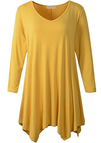 - LARACE Womens V-Neck Plain Swing Tunic Top Casual T Shirt(L, Yellow)