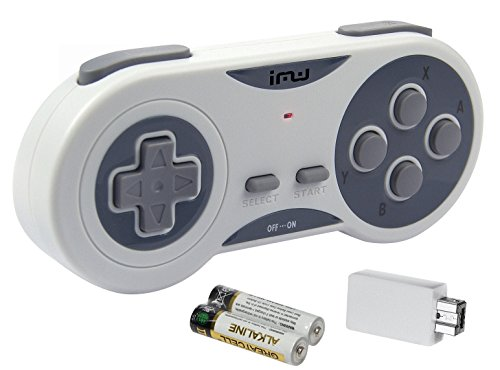iMW Wireless Gaming Controller for NES   Super NES Classic Edition, Grey - Super NES;