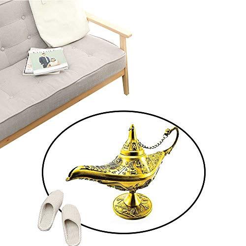 (Arabian Living Room Rugs Aladdin`s Magic Genie Lamp Wish Mystery Magic Wonder Adventure Story Inspired Art Antifouling D47 Gold White)