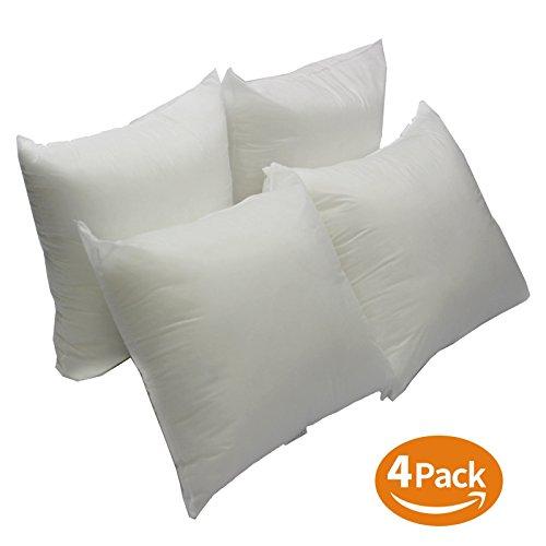 Mybecca Set of 4 - Premium Handmade Hypoallergenic Hollowfibre 18'' x 18'' Cushion Inners Pack of 4 Sham Stuffer Square pillow Insert Polyester Stuffer pillow, (Inner Cushion)