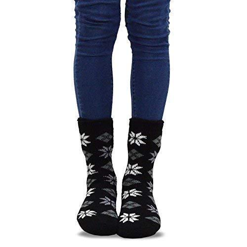 TeeHee Super Warm Brushed Thermal Crew Socks 2 Pairs Pack (9-11, Deer and Snow Flake)