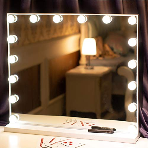 FANHHUI Frameless Vanity Mirror with Light Hollywood Makeup Lighted Mirror 3 Color Light (White)