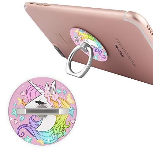 Customized Phone Ring Holder Pink Girl Unicorn Round 360 Degree Rotating Ring Stand Grip Mounts Holder Bracket Kickstand for Smartphones,Tablets,Pads