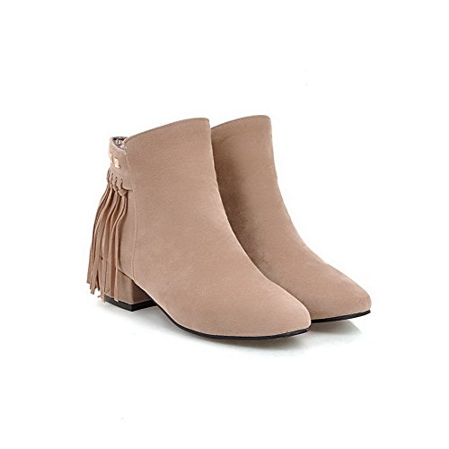 AmoonyFashion Womens Zipper Low-Heels Imitated Suede Solid Low-Top Boots Beige XfEtwxRW