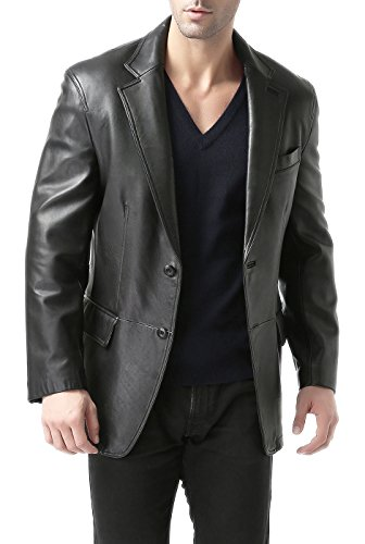 BGSD Men's Grant 2-Button Lambskin Leather Blazer,Black,XX-Large