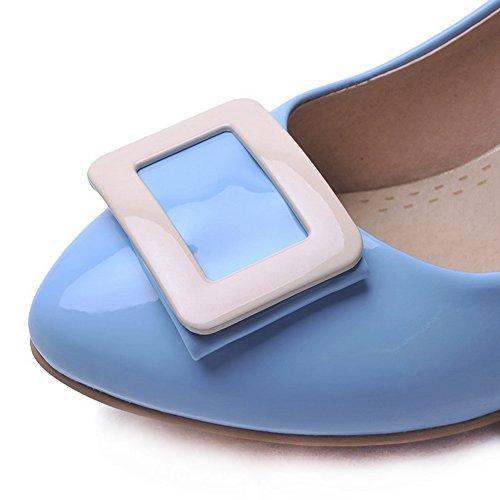 853ffb39c2c9ad ... AgooLar Damen Mittler Absatz Lackleder Rein Ziehen auf Spitz Schließen  Zehe Pumps Schuhe Himmelblau ...
