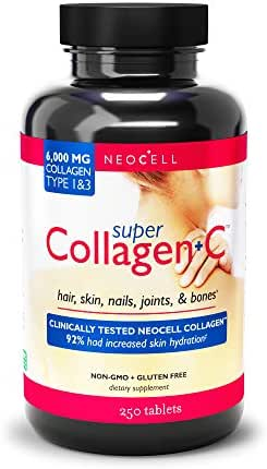 NeoCell Super Collagen + C – 6,000mg Collagen Types 1 & 3 Plus Vitamin C - 250 Tablets (Packaging May Vary)