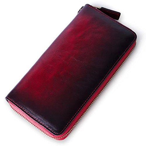 Women RFID Blocking Wallet Genuine Cow Leather Zip Around Clutch Large Travel Purse by DianZan