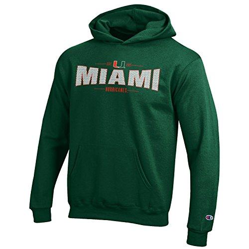 Champion NCAA Miami Hurricanes Youth Boys Fleece Hoodie, Small, Dark Green