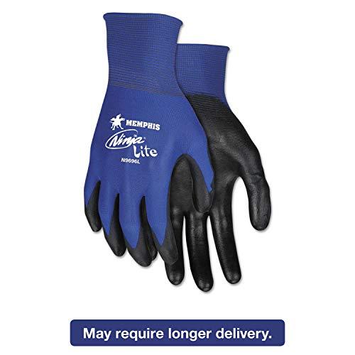 MCR Safety Ultra Tech Tactile Dexterity Work Gloves, Blue/Black, Small, 1 Dozen