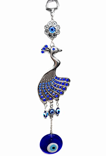 Blue Evil Eye with Peacock Hanging for Protection (With a Betterdecor Pounch)-056