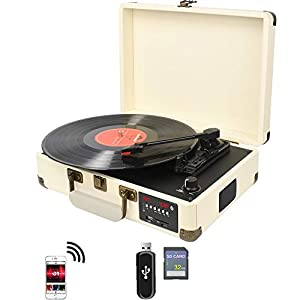 DIGITNOW! Bluetooth Record Player Belt-Drive 3-Speed Turntable Built-in Stereo Speakers, Vinyl to SD Card/USB Stick & with AM/FM Radio, Retro Suitcase Designed