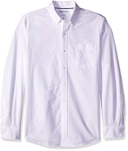 Amazon Essentials Men's Slim-Fit Long-Sleeve Solid Pocket Oxford Shirt, White, ()