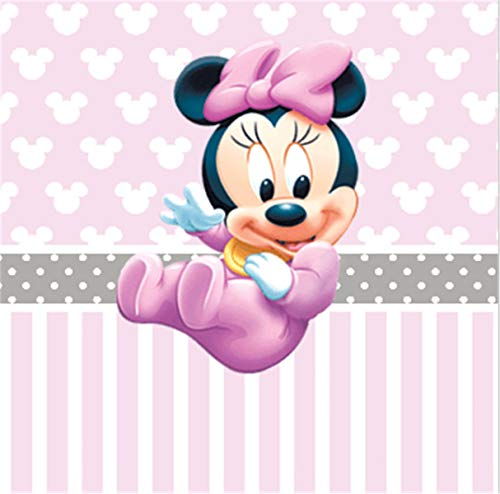 Pink Minnie Mouse Backdrop for 1st Birthday 7x5 Baby Minnie Step and Repeat Backgrounds Baby Shower for Girl Customized Photo Studio Background Cloth ()