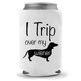 Dachshund Dog Beer Holder – Trip Over My Weiner | Funny Novelty Can Cooler Coolie Huggie | Beer Beverage Holder – Beer…