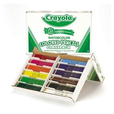 Brand New Crayola Watercolor Wood Pencil Classpack 3.3 Mm 12 Asstd Clrs 240 Pencils/Box