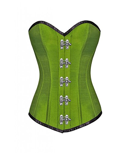 偽革命的対象Green Silk Seal Lock Gothic Steampunk Waist Training Bustier Overbust Corset Top