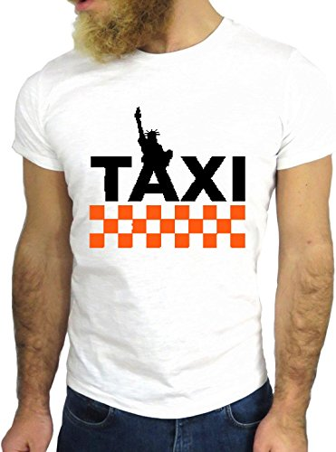 T SHIRT JODE Z3153 TAXY NEW YORK CAB AMERICAN FUN NICE COOL USA ROAD 66 GGG24 BIANCA - WHITE M
