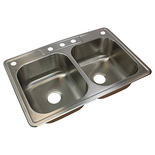 Transolid CTDE33228-5 Classic 5-Hole Drop-in Equal Double Bowl Kitchen Sink, 22 1/64'' x 33'' x 8'', Brushed Stainless Steel by Transolid