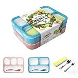 Leakproof Bento Boxes Containers for Kids and Adult Lunch Bento Box Set with 3 and 4 Compartments Microwave and Dishwasher Safe BPA-Free Lunch Box for Work School Travel