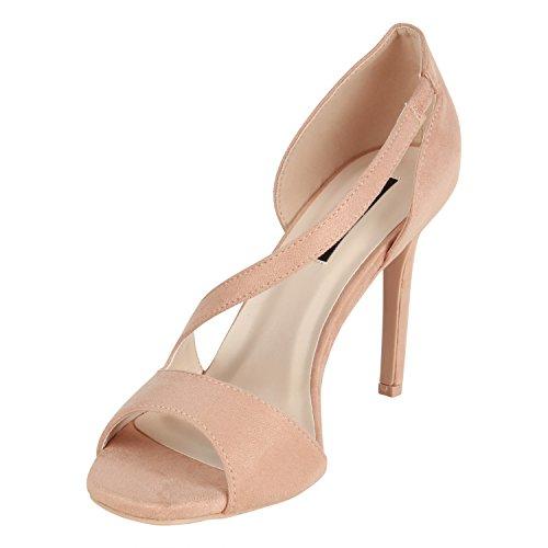 Stiefelparadies Elegante Damen Sandaletten Stiletto High Heels Samt-Optik Party Schuhe Riemchensandaletten Glitzer Metallic Brautschuhe Flandell Rosa Avelar