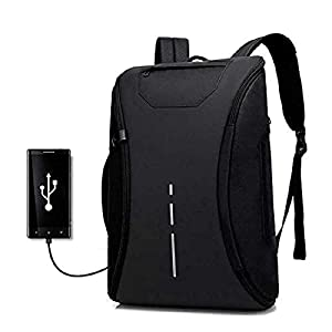 "STEEZE 360 Degree Anti Theft Waterproof Laptop Backpack with USB Charging Port for Unisex (15.6"" to 17″) (Black)"