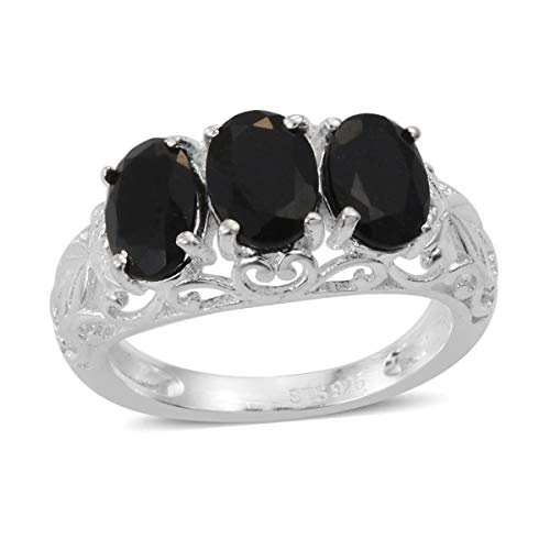 925 Sterling Silver Oval Black Tourmaline Trilogy Ring for Women Jewelry Size 6 Cttw 2