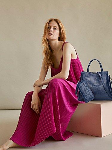 Leather Crocodile Messenger Handbag Purse Crossbody Shoulder 2PCS PU Blue Nicole Ladies Black Bag Bag amp;Doris HqwC1v7