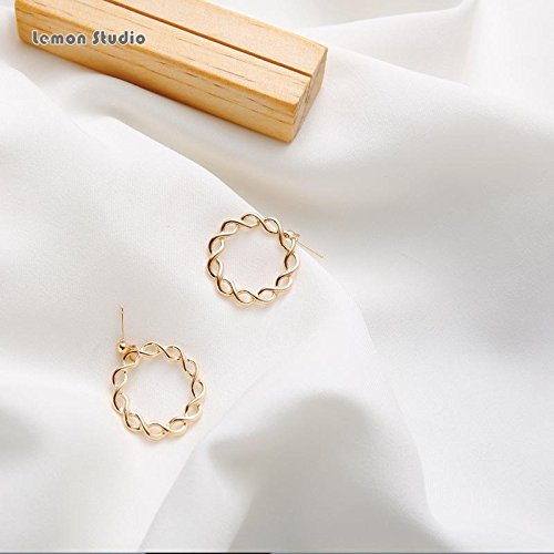 - TKHNE Lemon twist earrings handmade minimalist geometric weave hoop earrings elegance earrings gentle short paragraph