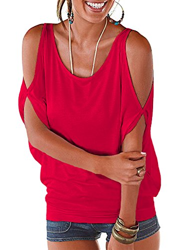 - Red Summer T Shirt Women Short Sleeve Cold Shoulder Loose Fit Pullover Casual Top