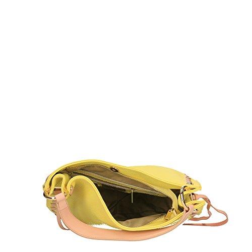 Chicca Borse Piel genuina bandolera 35x28x12 Cm amarillo rosado