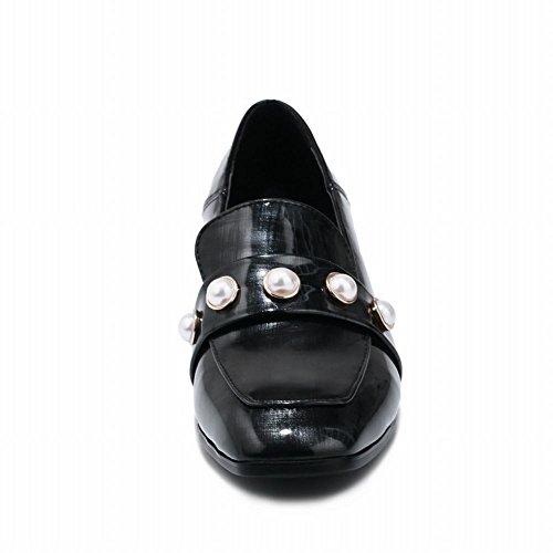 Mee Shoes Damen chunky heels vierkant Perle Dekoration Pumps Schwarz