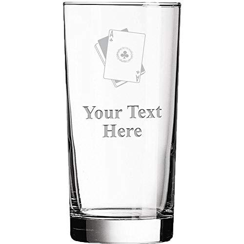 Personalized Glassware, 15.5oz Custom Engraved Playing Cards Poker Clear Glass Tumbler, Custom Drinkware Gifts Prime]()